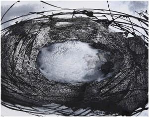 5. in un giro di vento china - inchiostro stilografico e pigmenti su tela - 2008 - cm.33x42