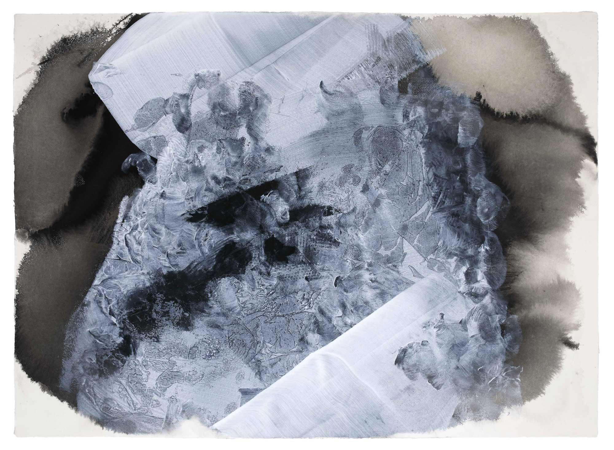 Ogni cosa ad ogni cosa ha detto addio . Every thing has said farewell to every thing . inchiostro e acrilico su carta .  ink and pigments on paper . cm 79x105 . 2018